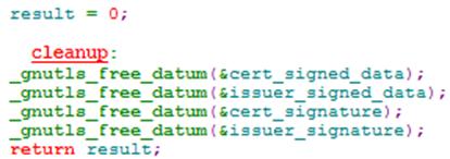 GnuTLS certificate verification bug cleanup code