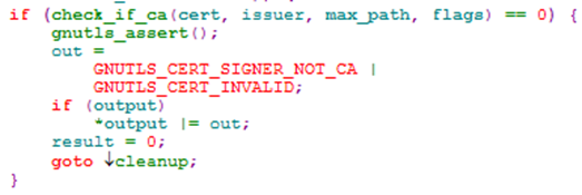 GnuTLS certificate verification bug caller code