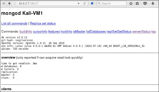 HTTP interface exposes system and database information