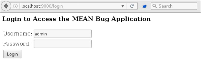 MEAN Bug login form