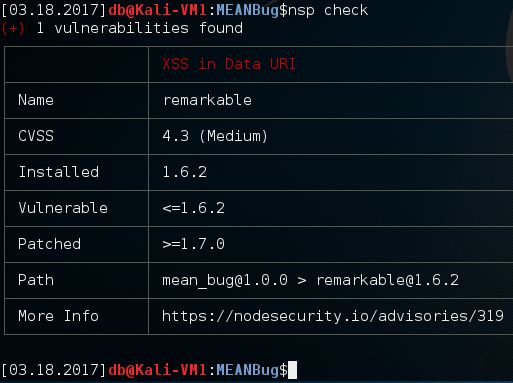 Using 'nsp' command line tool to identify vulnerable NodeJS dependencies