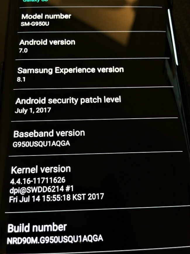 Figure 1: Unpatched Samsung S8 as of Sept. 12, 2017