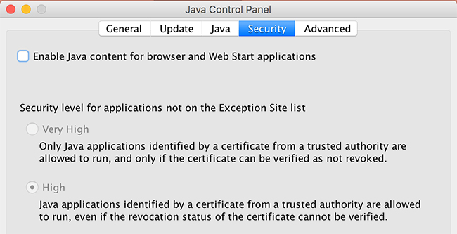 Java control panel security