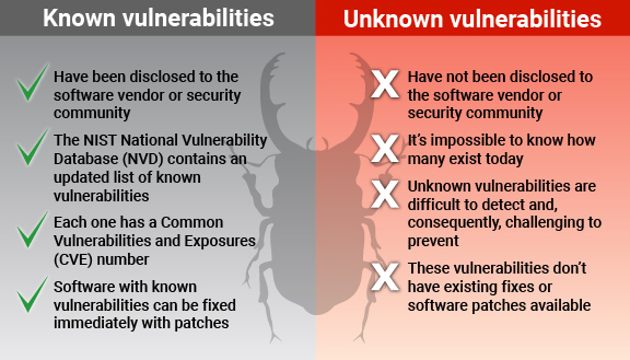 Known vulnerabilities versus unknown vulnerabilities