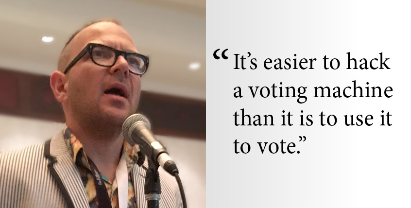 """It's easier to hack a voting machine than it is to use it to vote."" Cory Doctorow"
