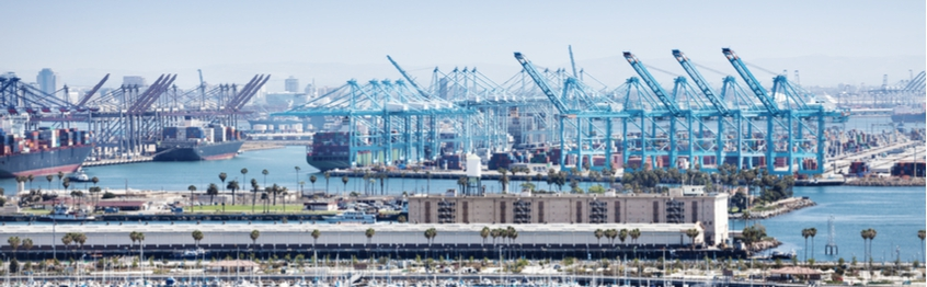 Cranes and container ships at the Port of Long Beach, California