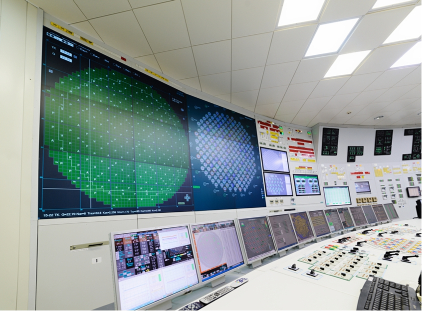 Computer systems in the control room of a nuclear power plant