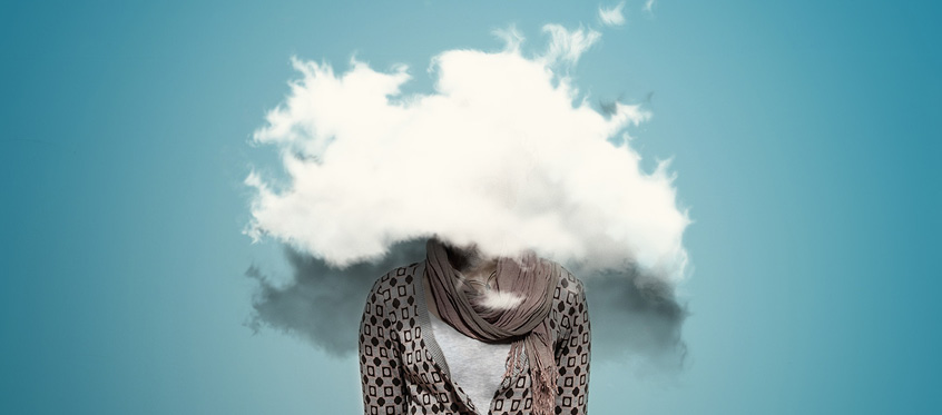 A person with their head in a cloud
