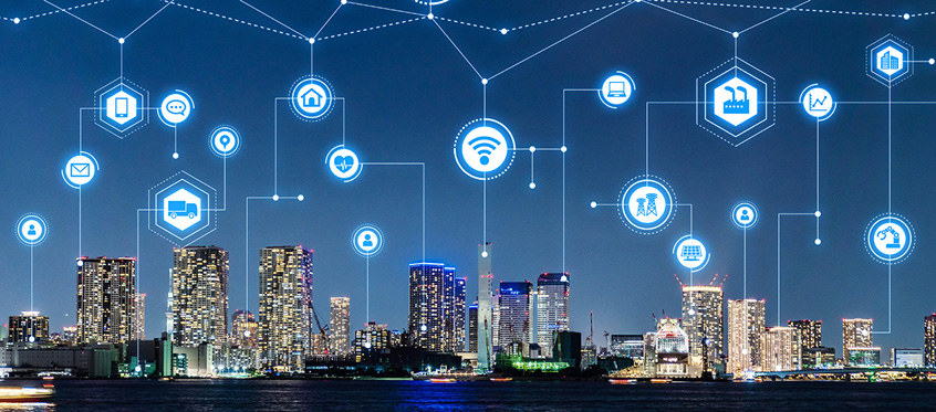 A smart city blanketed with connected IoT devices
