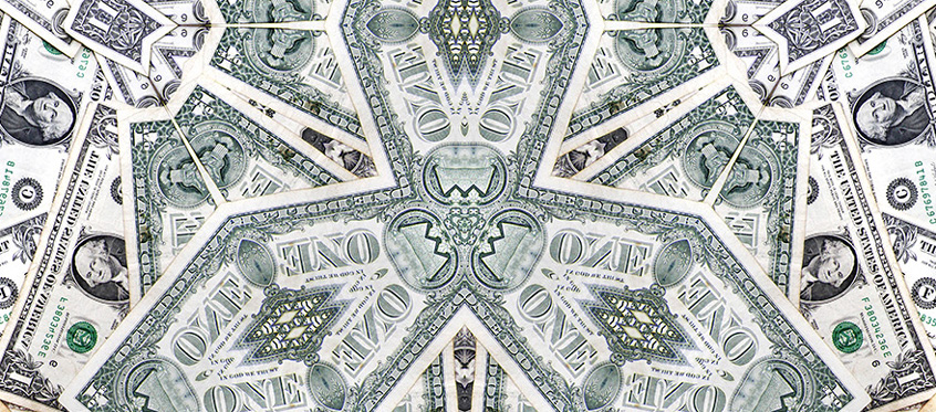 Kaleidoscope of dollar bills