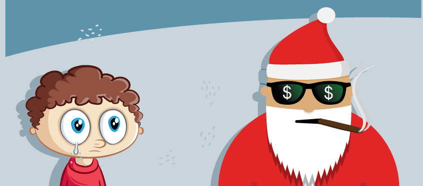 The email demanded that Johnny pay Santa $1,400 in Bitcoin.