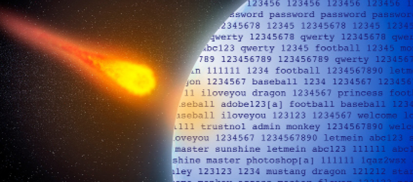 An asteroid heads for a planet made of terrible passwords