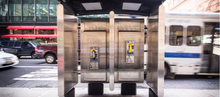 Old unused phone booths