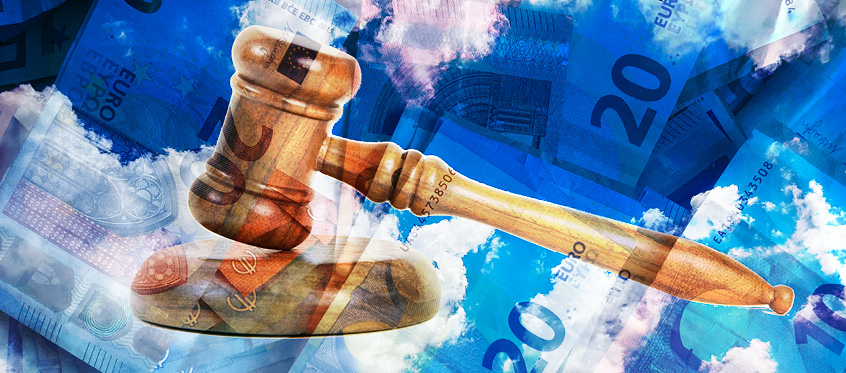 A gavel, euros, and clouds