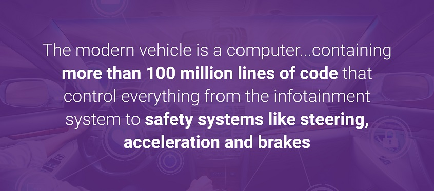 The modern vehicle is a computer...containing more than 100 million lines of code that control everything from the infotainment system to safety systems like steering, acceleration and brakes.