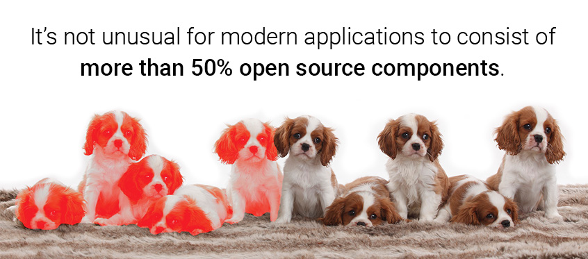 It's not unusual for modern applications to consist of more than 50% open source components.