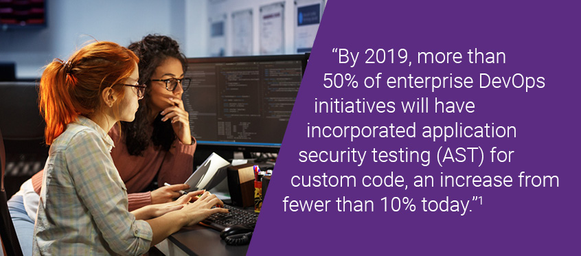 By 2019, more than 50% of enterprise DevOps initiatives will have incorporated application security testing (AST) for custom code, an increase from fewer than 10% today.