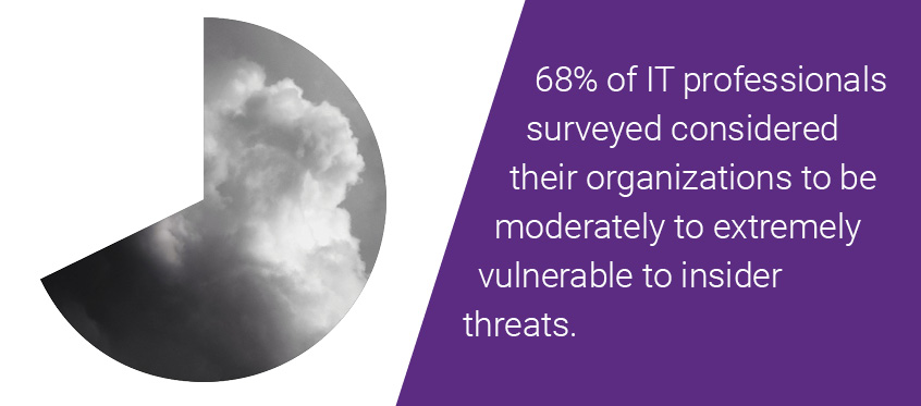 68% of 437 IT professionals surveyed considered their organizations to be moderately to extremely vulnerable to insider threats.