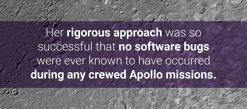 Margaret Hamilton's rigorous approach was so successful that no software bugs were ever known to have occurred during any crewed Apollo missions.
