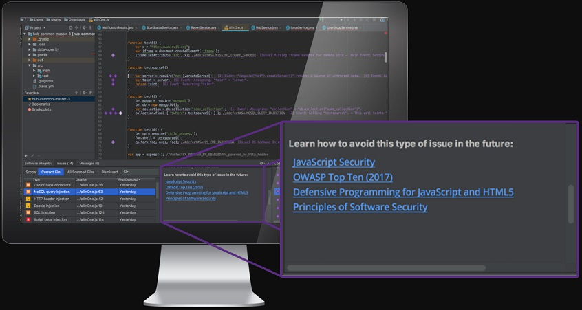 The Code Sight IDE plugin provides secure coding training directly in developers' IDE.