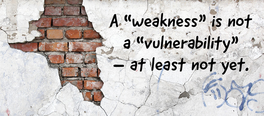 "A ""weakness"" is not a ""vulnerability""—at least not yet."
