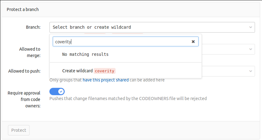 Creating a protected branch in the repository