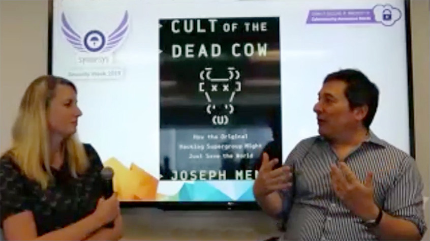 "Joseph Menn, author of the book ""Cult of the Dead Cow: How the Original Hacking Supergroup Might Just Save the World"""