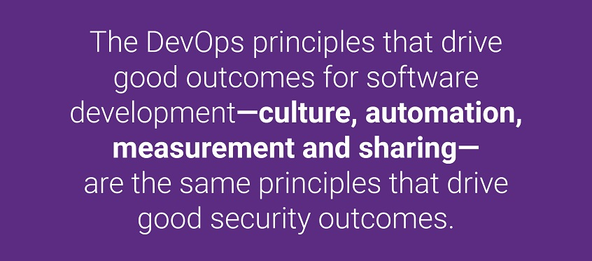 The DevOps principles that drive good outcomes for software development—culture, automation, measurement and sharing—are the same principles that drive good security outcomes.