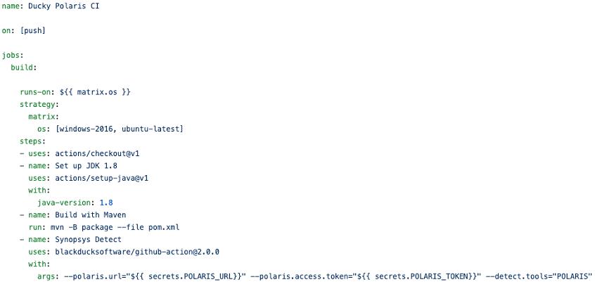 Example Synopsys Detect GitHub Action yaml