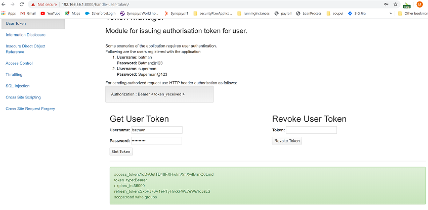 Generate an access token in Tiredful