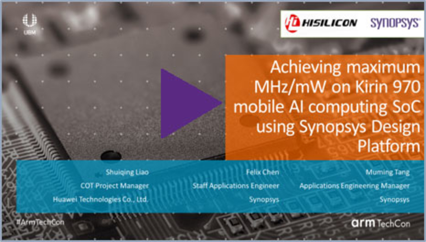 Achieving Maximum MHz/mW on Kirin 970 Mobile AI Computing SoC Using Synopsys Design Platform