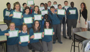Synopsys volunteer, Ruth Stephenson, taught the ESIS program to 2nd year students from Hartstown Community School