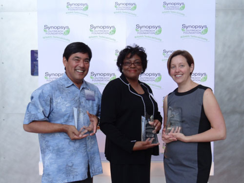 From left to right: Award recipients Bruce Kawanami, Gloria Hayes-Perkins and Amy Brindos-Reeber