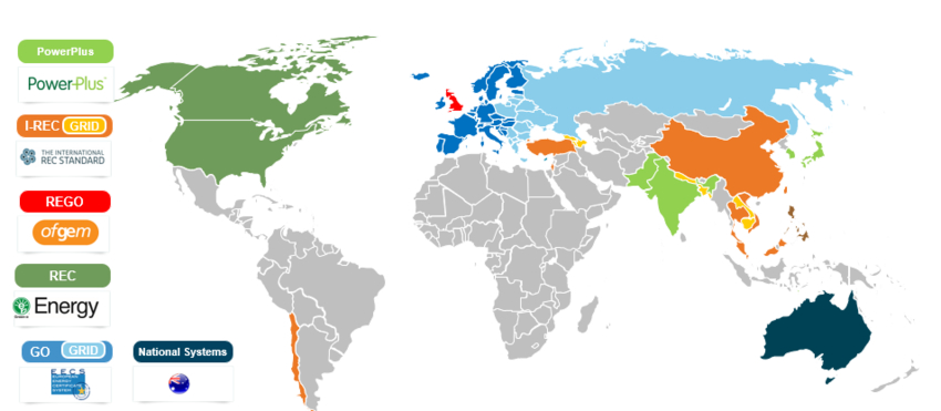 Map of Renewable Energy Certificates (RECs)