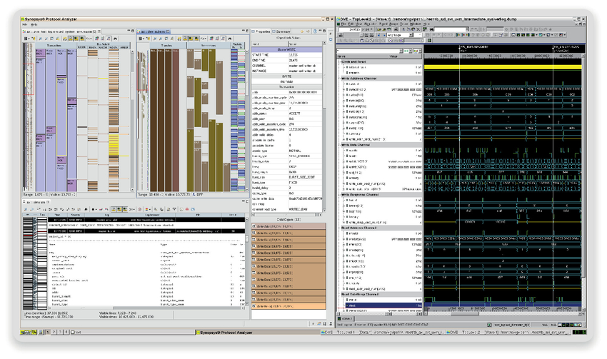 Side-by-side viewing and scrolling of multiple protocols in Verdi Protocol Analyzer