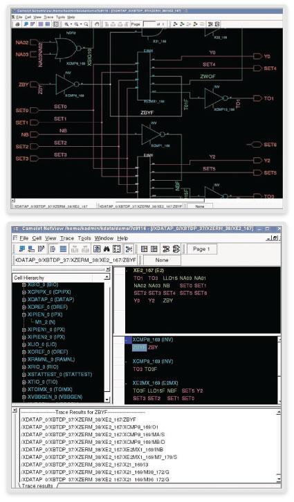 図2: CamelotのSchemViewとNetViewで回路図内部の容易なナビゲーションが可能