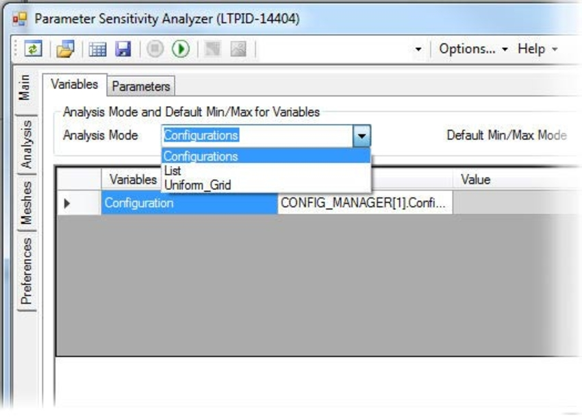 Parameter Sensitivity menu
