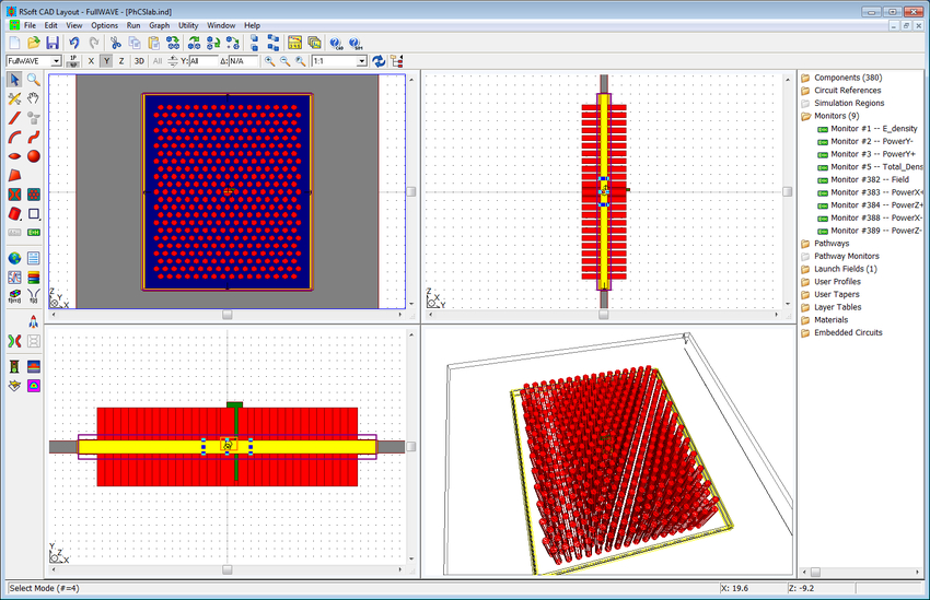 Figure 1: PhC slab structure in the RSoft CAD (left) | Synopsys