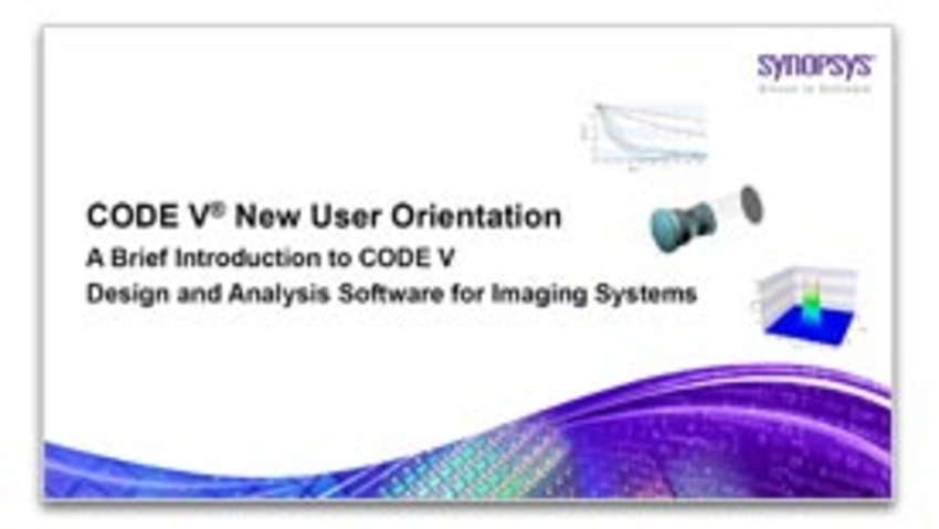 New CODE V User Orientation Webinar Now Available