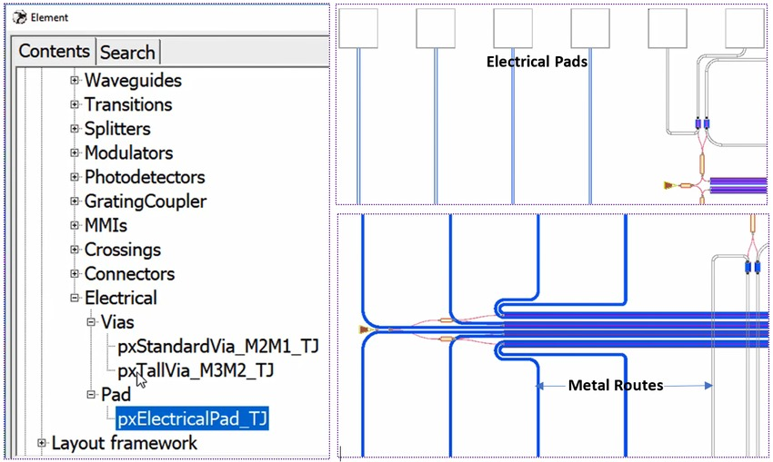 Adding electrical pads, vias and metal routes in OptoDesigner | Synopsys