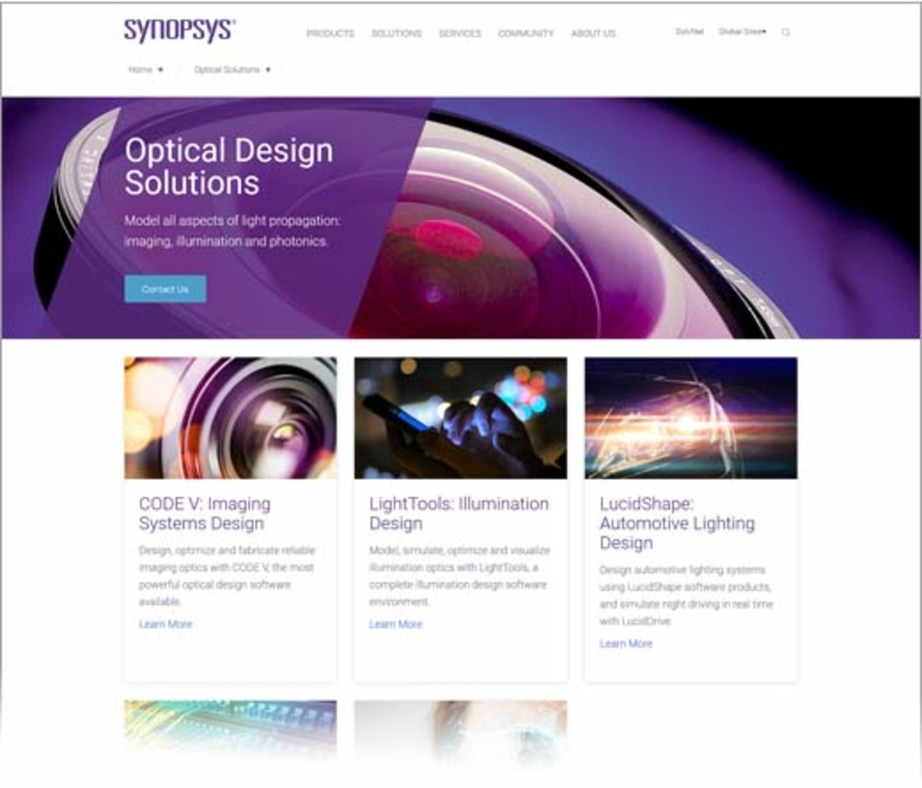 Synopsys Launches New Optical Solutions Web Pages