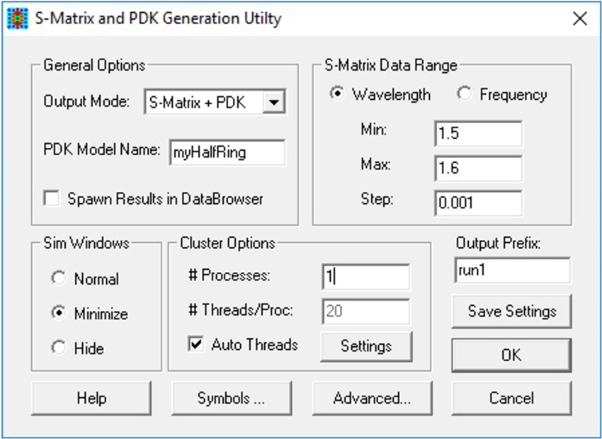 Setup options for the S-Matrix and PDK Generation Utility