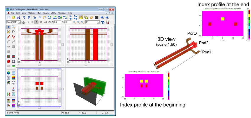 Figure 2. Layout in RSoft CAD and index profile at the beginning and the end | Synopsys