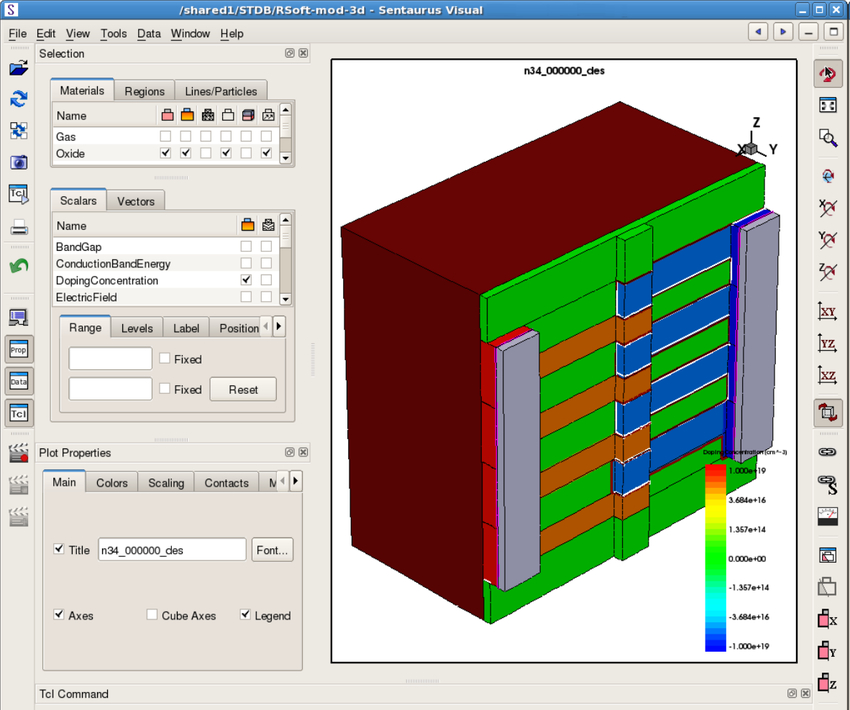 Silicon modulator modeled in Sentaurus Structure Editor