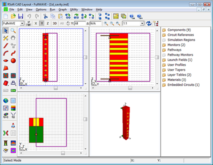 RSoft CAD Environment™ layout of the PBG waveguide microcavity