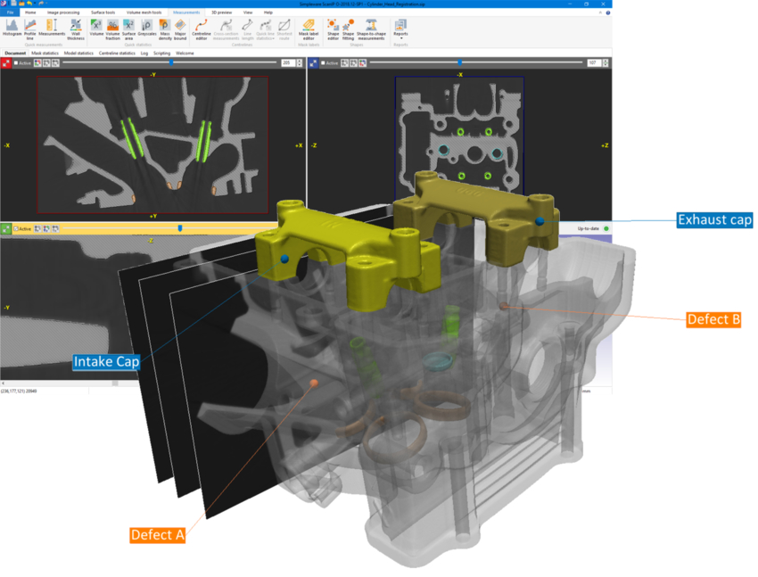 Segmentation of an engine block using Simpleware 3D image software